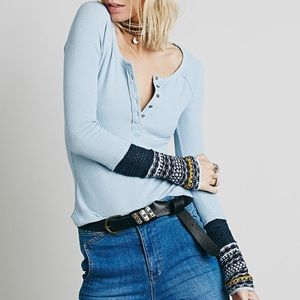 Free People Ski Lodge Knit Cuff Top in Lake Blue
